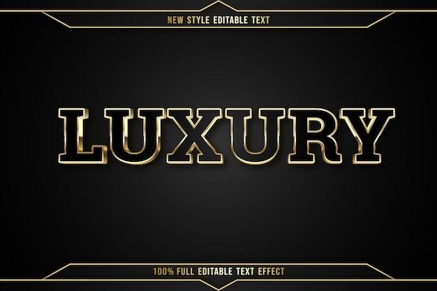 Texto editável com efeito de luxo em cor preta e dourada