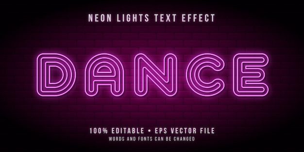 Texto editável com efeito de luzes de tubo de néon