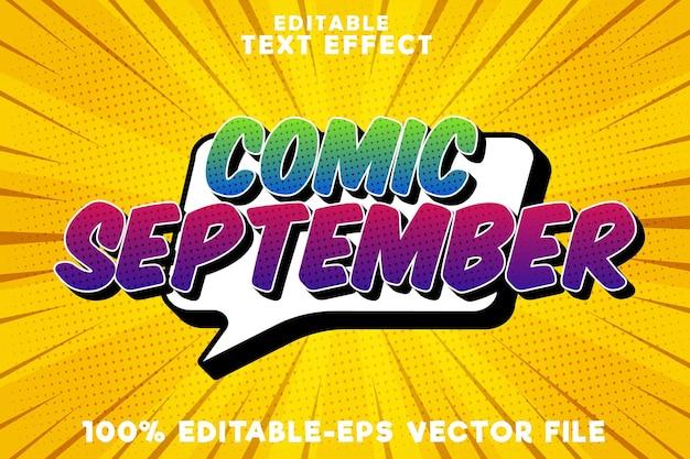 Texto editável com efeito de quadrinhos de setembro com o novo estilo de quadrinhos de setembro