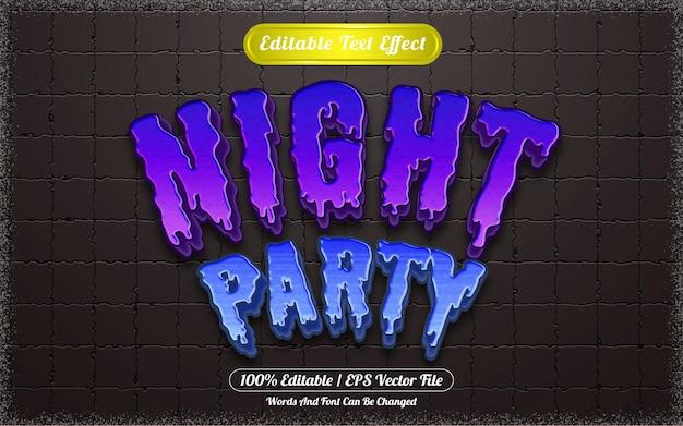 Texto editável com efeito de texto à noite, festa temática de halloween