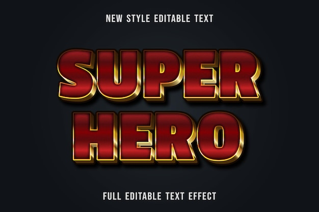 Texto editável com efeito de texto super-herói cor vermelha e dourada