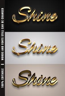 Texto editável de efeitos dourados 3d