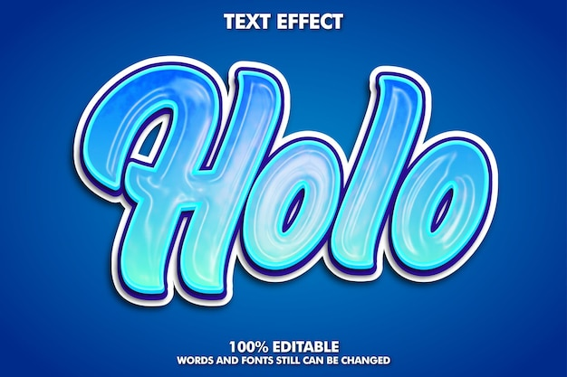 Texto editável de holografia da moda