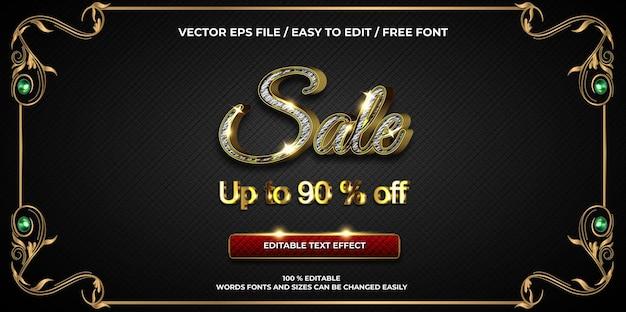 Texto editável de luxo efeito promoção venda ouro estilo de texto 3d