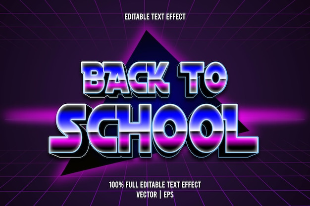 Texto editável de volta às aulas com efeito de 3 dimensões em relevo estilo retro