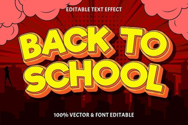 Texto editável de volta às aulas com efeito de 3 dimensões em relevo no estilo cômico