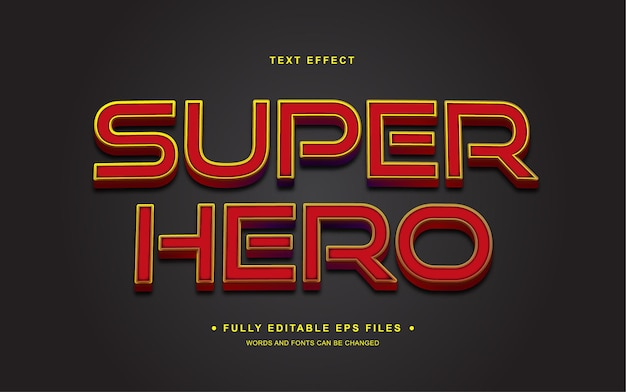 Texto editável do super-herói