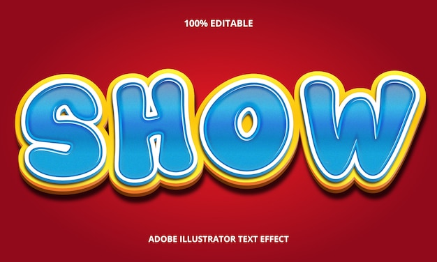 Texto editável efeito-cartoon show estilo