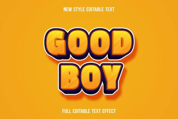 Texto editável efeito de bom menino cor laranja e roxo