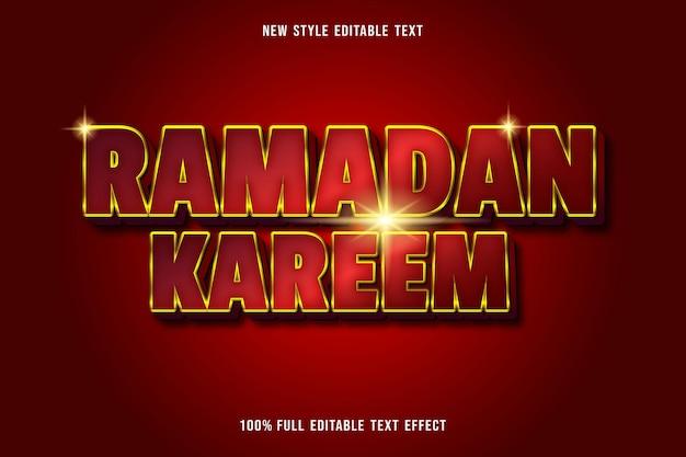 Texto editável efeito de luxo ramadan kareem cor vermelho e dourado