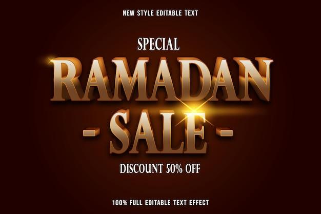 Texto editável efeito de luxo ramadan sale cor ouro e marrom