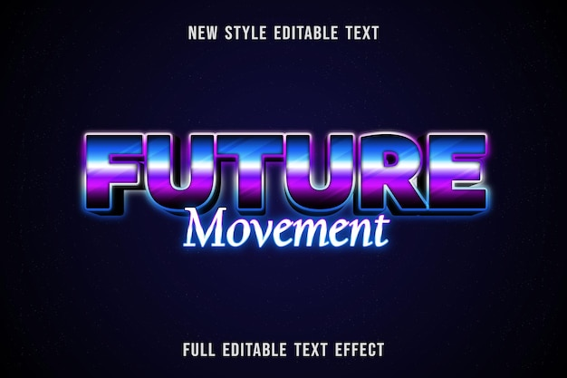 Texto editável efeito de movimento futuro cor azul roxo e preto