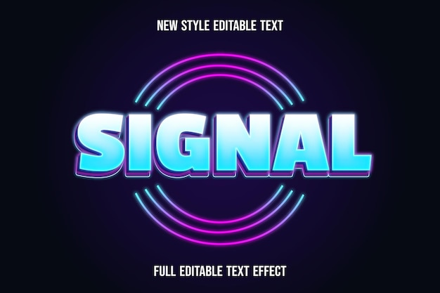 Texto editável efeito de sinal de cor branca e azul