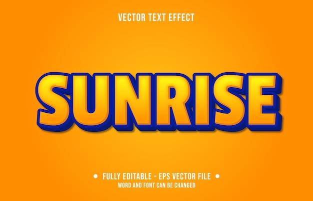 Texto editável efeito do nascer do sol amarelo estilo moderno