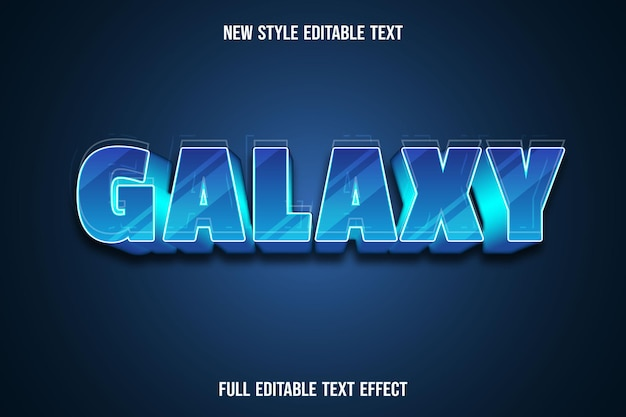 Texto editável efeito galáxia gradiente de cor azul