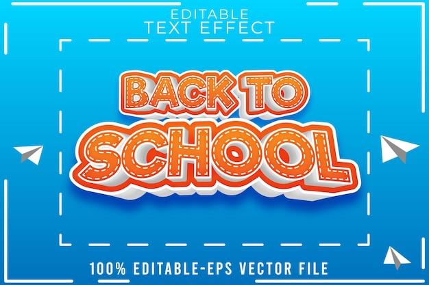 Texto editável efeito novo estilo de volta à escola