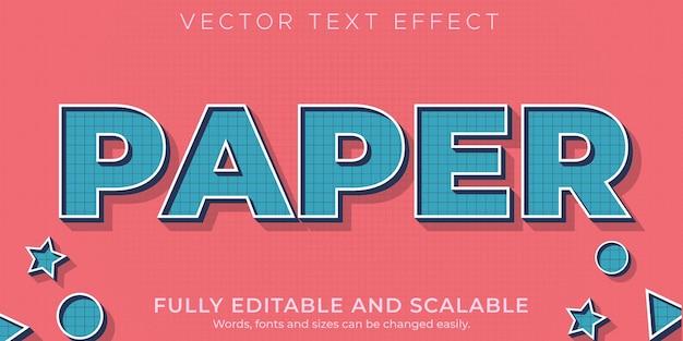 Texto editável em papel com efeito de texto editável em azul