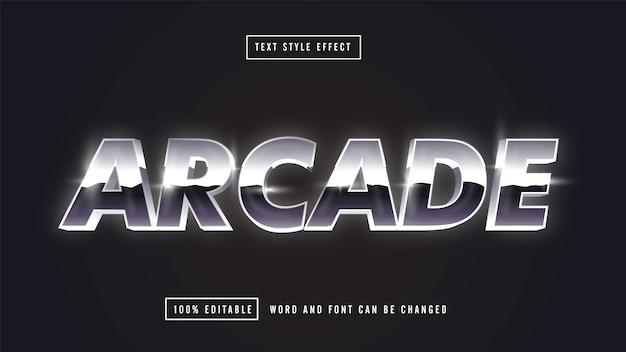 Texto editável retro prateado arcade