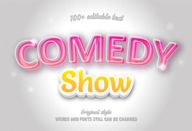 Texto editável sobre comédia mostra cores rosa e amarela com gradiente.