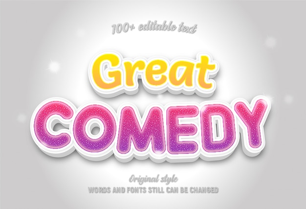 Texto editável sobre grande comédia cor amarela e rosa estilo moderno colorido ..