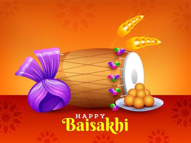 Texto elegante de baisakhi feliz com elemento festival e realista