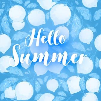 Texto elegante de olá verão em fundo azul
