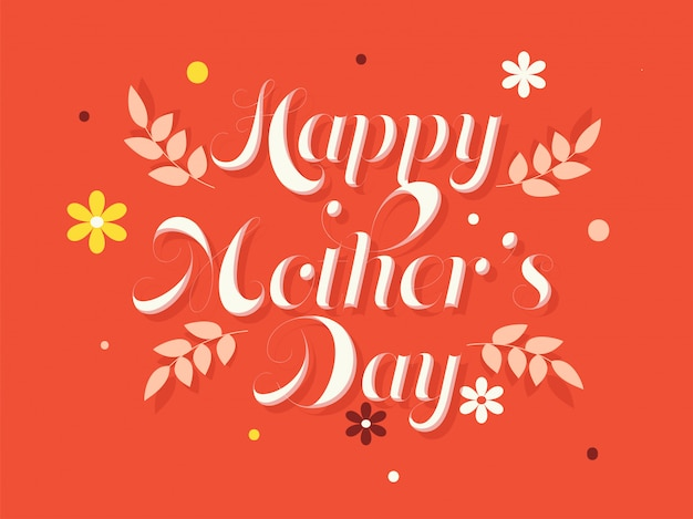 Texto elegante feliz dia das mães em fundo laranja.