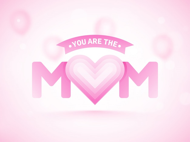 Texto elegante mãe com forma de coração. feliz dia das mães conceito.