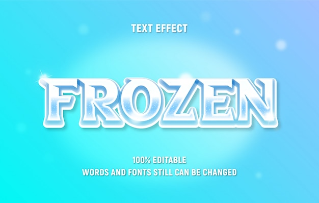Texto em branco editável sobre frozen com efeito de gradiente de estilo moderno.