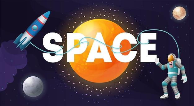 Texto em branco grande com estrelas, planetas, espaçonave e astronauta