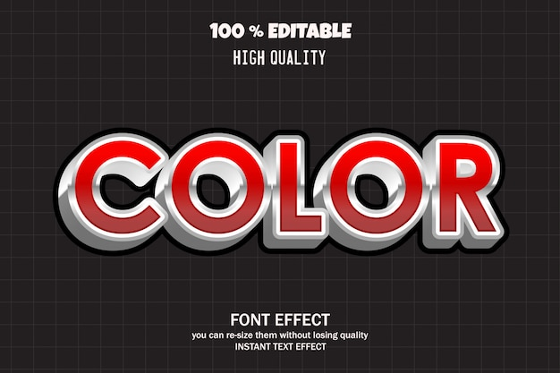 Texto em cor vermelha, efeito de fonte editável