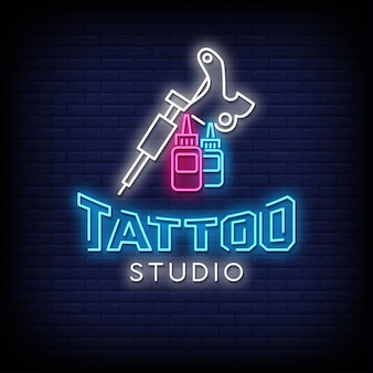 Texto em estilo de letreiros de néon para estúdio de tatuagem