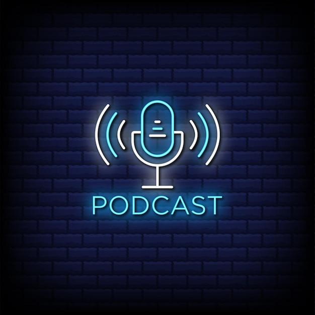 Texto em estilo de sinal de néon de podcast ao vivo