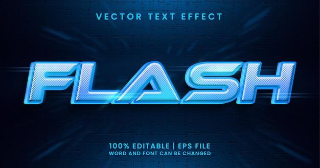 Texto em flash, efeito de texto editável em azul claro brilhante