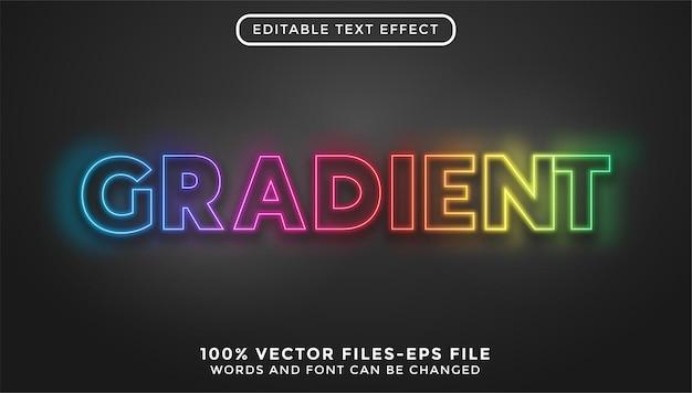 Texto em gradiente. efeito de texto editável com vetores premium estilo neon