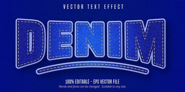 Texto em jeans, efeito de texto editável em estilo jeans realista