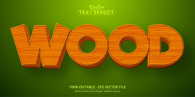 Texto em madeira, efeito de texto editável no estilo desenho animado