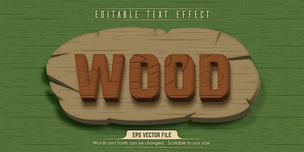 Texto em madeira, efeito de texto editável no estilo madeira
