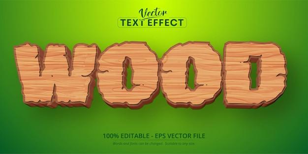 Texto em madeira, jogo para celular e efeito de texto editável no estilo desenho animado