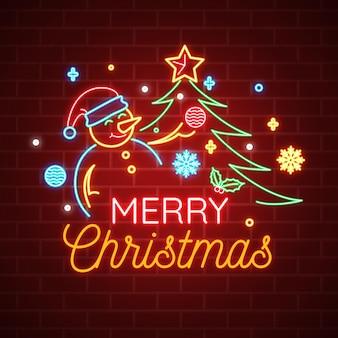 Texto em néon de feliz natal com boneco de neve e árvore