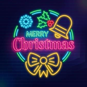 Texto em néon de feliz natal com elementos