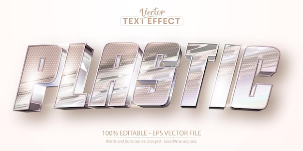 Texto em plástico, efeito de texto editável com cor iridescente holográfica com estilo de folha enrugada