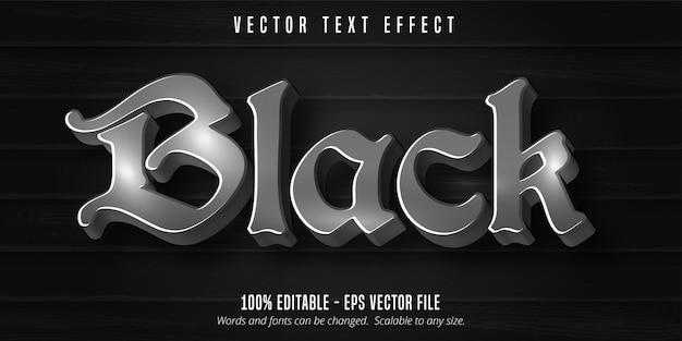 Texto em preto, efeito de texto editável em fundo preto de madeira Vetor Premium