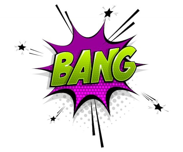 Texto em quadrinhos bang boom no estilo pop art do balão de fala