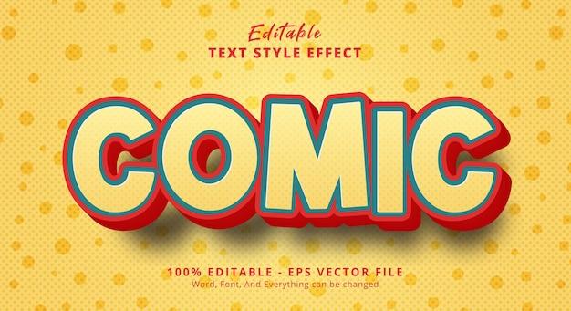 Texto em quadrinhos com efeito de estilo de título de desenho animado, efeito de texto editável