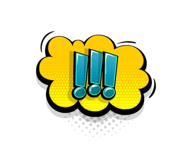 Texto em quadrinhos com ponto de exclamação no estilo pop art do balão de fala