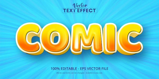 Texto em quadrinhos, efeito de texto editável no estilo desenho animado