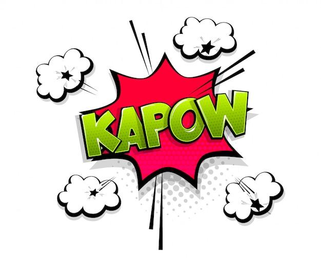 Texto em quadrinhos kapow sobre o estilo pop art do balão de fala