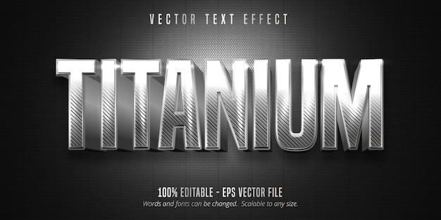 Texto em titânio, efeito de texto editável estilo prata metálico