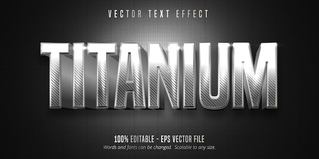 Texto em titânio, efeito de texto editável estilo prata metálico Vetor Premium